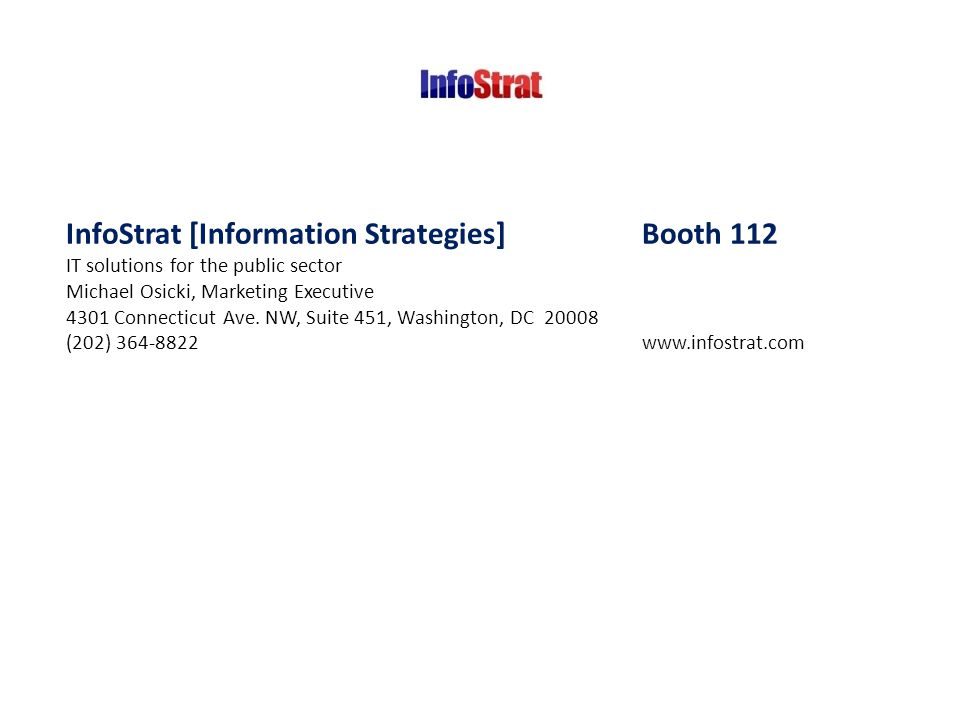 InfoStrat [Information Strategies] Booth 112